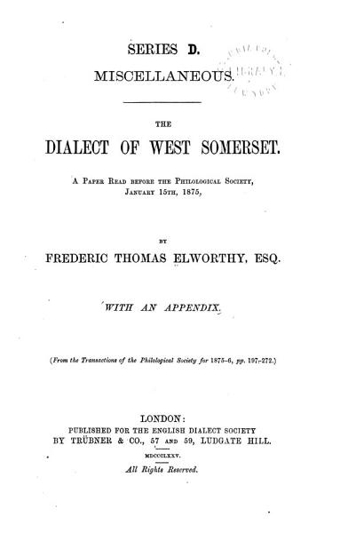 An Outline of the Grammar of the Dialect of West Somerset PDF