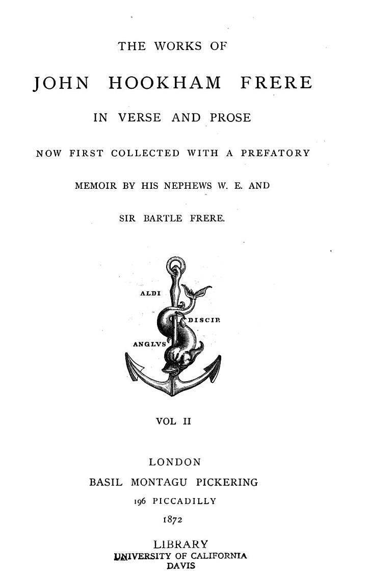 The Works of John Hookham Frere in Verse and Prose