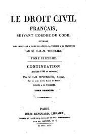 Le droit civil français suivant l'ordre du code: 16: Continuation, 1