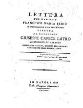 Lettera del marchese Francesco Maria Berio in dilucidazione di un vaso etrusco diretta a S. Eccellenza Giuseppe Capece Latro, arcivescovo di Taranto