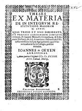 Theses ex materia de in integrum restitutione maiorum 25. annis