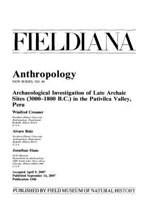 Archaeological Investigation of Late Archaic Sites  3000 1800 B C   in the Pativilca Valley  Peru PDF