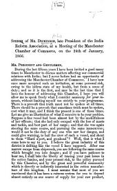 Speech ... at a meeting of the Manchester Chamber of Commerce, on the 24th of January, 1866