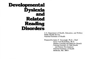 Developmental Dyslexia and Related Reading Disorders PDF