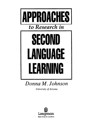 Approaches to Research in Second Language Learning PDF