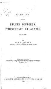 Rapport sur les études berbères, éthiopiennes et arabes, 1887-1891