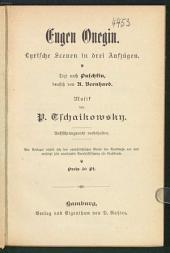 Eugen Onegin: lyrische Scenen in drei Aufzügen