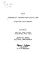 James Creek coal preference right lease application: environmental impact statement, draft