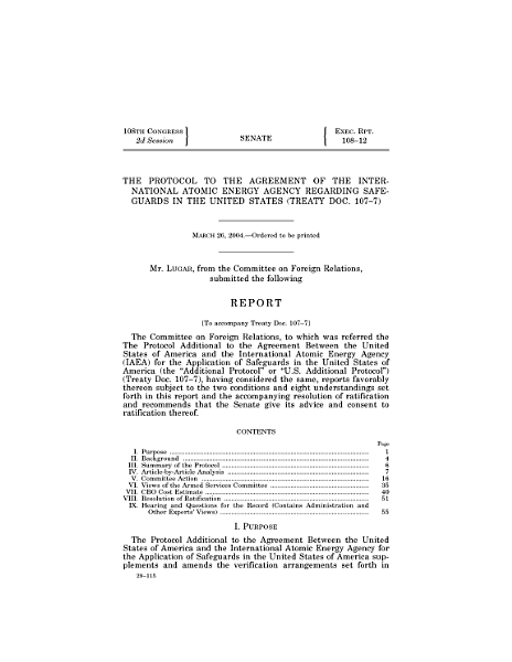 Download The Protocol to the Agreement of the International Atomic Energy Agency Regarding Safeguards in the United States  Treaty Doc  107 7  Book