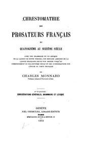Chrestomathie des prosateurs français du quatorzième au seizième siècle ...