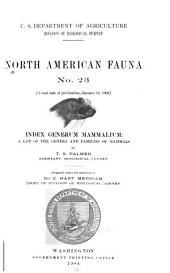 Index Generum Mammalium: A List of the Genera and Families of Mammals, Issue 23