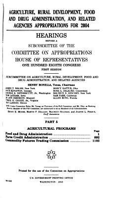 Agriculture  Rural Development  Food and Drug Administration  and Related Agencies Appropriations for 2004