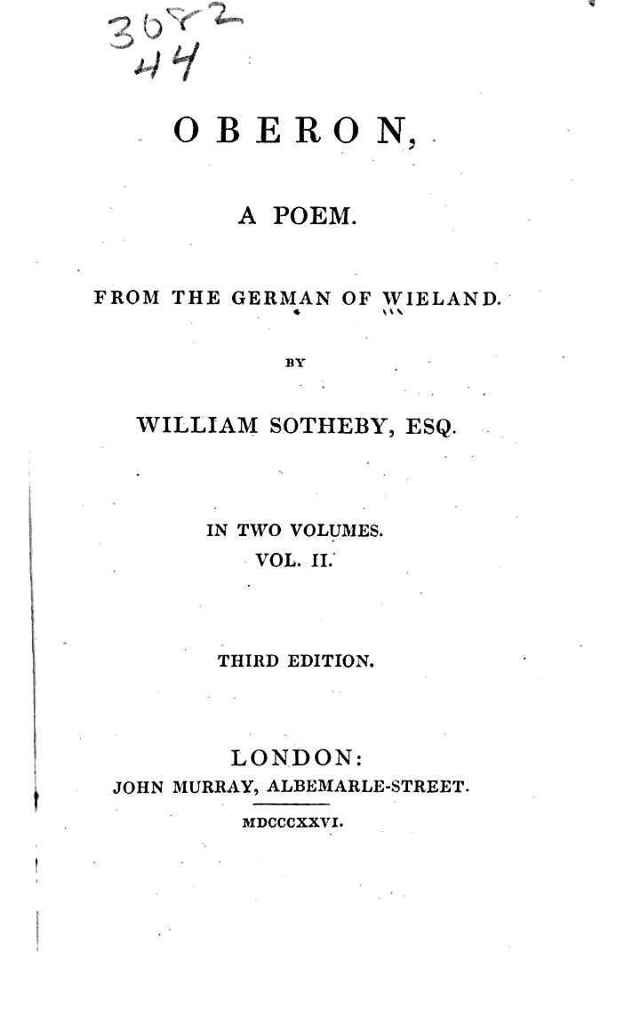 Oberon, a Poem from the German of Wieland
