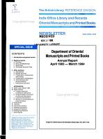 Annual Report of the Department of Oriental Manuscripts and Printed Books PDF