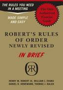 Robert s Rules Of Order Newly Revised In Brief Book