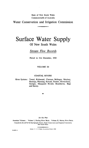Surface Water Supply of New South Wales