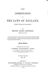 New Commentaries on the Laws of England: (Partly Founded on Blackstone).