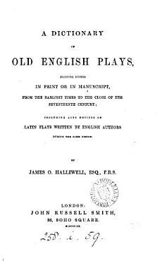 A dictionary of old English plays PDF