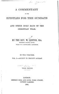 Commentary on the Epistles for the Sundays and Other Holy Days of the Christian Year     PDF
