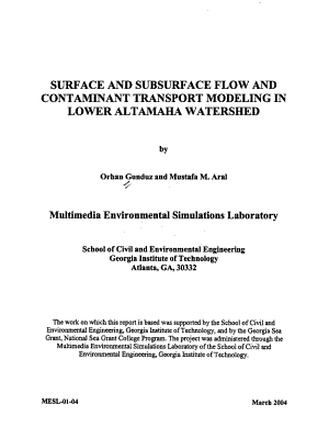 Surface and Subsurface Flow and Contaminant Transport Modeling in Lower Altamaha Watershed