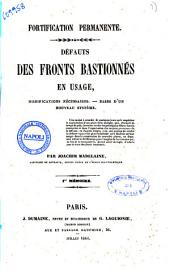 Fortification permanente défauts de fronts bastionnés en usage, modifications necessaires ... 1.er memoire par Joachim Madelaine