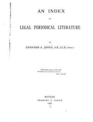 An Index to Legal Periodical Literature PDF