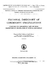 National Directory of Commodity Specifications: Classified and Alphabetical Lists and Brief Descriptions of Specifications of National Recognition
