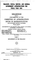 Treasury  Postal Service  and General Government Appropriations for Fiscal Year 1993  Department of the Treasury PDF
