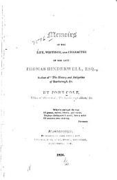 Memoirs of the Life, Writings and Charcter of the Late Thomas Hinderwell ...