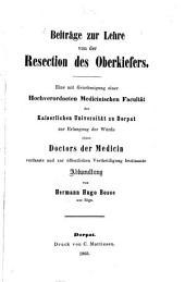 Beiträge zur Lehre von der Resection des Oberkiefers