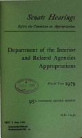 Department of the Interior and Related Agencies Appropriations for Fiscal Year 1979 PDF