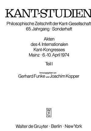 Akten des 4. [i.e. vierten] Internationalen Kant-Kongresses: Symposien