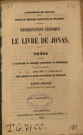Dissertation critique sur le livre de Jonas