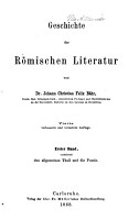 Geschichte der r  mischen Literatur  Bd  Enthaltend den allgemeinen Theil und die Poesie  1868 PDF