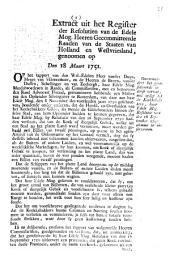 Resolutie: Onvermindert het geresolveerde in deese vervat, met opsigt tot de koekebakkers, haar edele mog. Resolutie van den 16 september 1750 alomme observeeren. 18 maart 1751