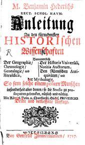 Anleitung zu den fürnehmsten historischen Wissenschaften