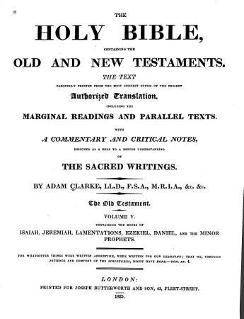 The Holy Bible  Isaiah  Jeremiah  Lamentations  Ezekiel  Daniel  and the Minor prophets PDF