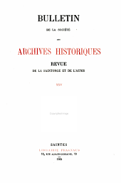 Revue de Saintonge & d'Aunis: Volume25
