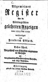 Allgemeines Register über die Göttingischen gelehrten Anzeigen