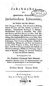 Jahrbücher der gesammten deutschen juristischen Literatur: Band 11