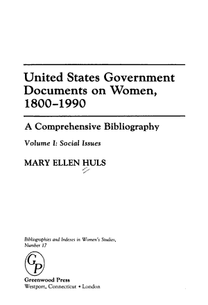 United States Government Documents on Women  1800 1990 PDF
