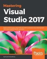 Mastering Visual Studio 2017 PDF