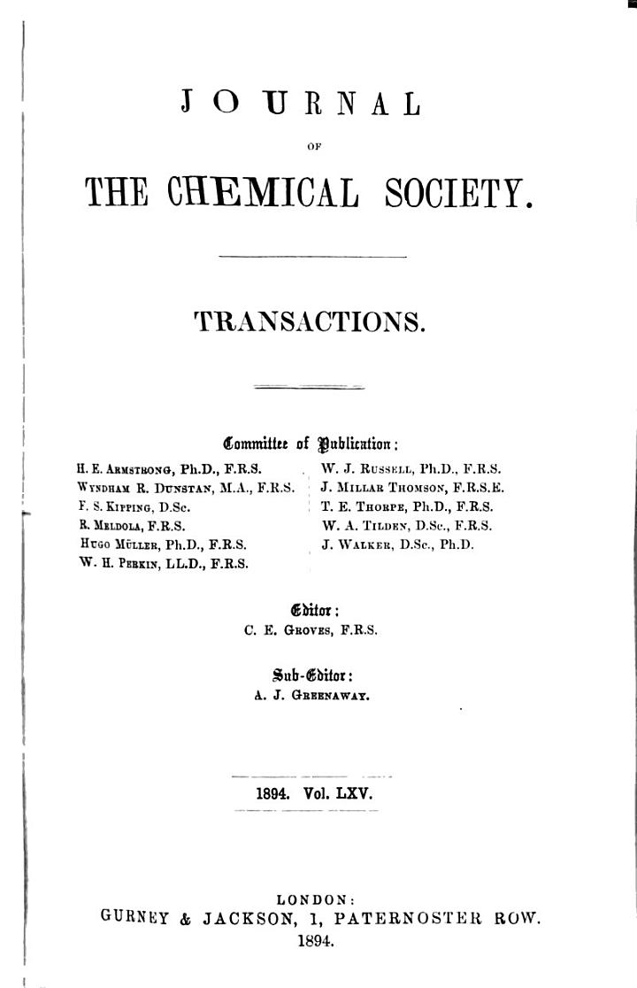Journal - Chemical Society, London