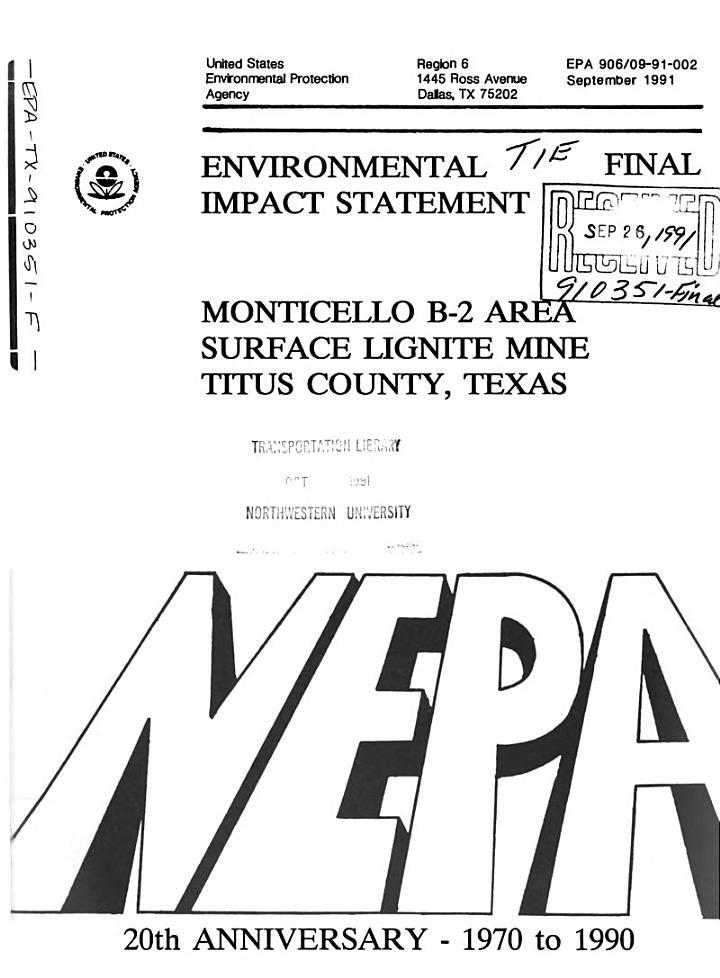 Monticello B-2 Area Surface Lignite Mine Expansion, Titas County