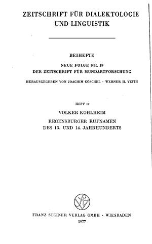Zeitschrift f  r Dialektologie und Linguistik PDF