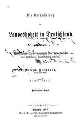 Die entwickelung der landeshoheit in Deutschland in der Periode v.F.II., etc.(Th.1).
