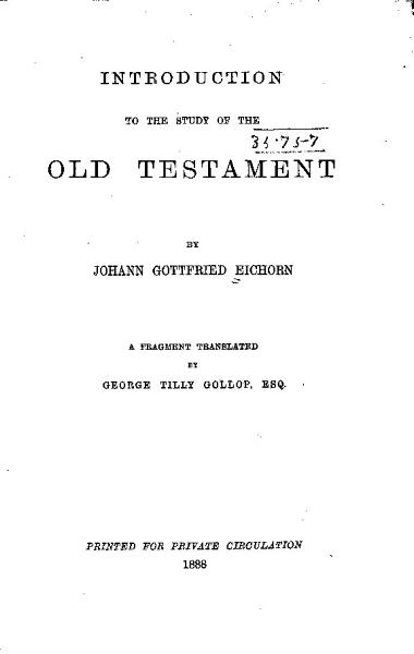 Introduction to the Study of the Old Testament PDF