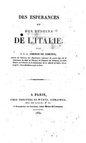 Des espérances et des besoins de l'Italie par J.C.L. Simonde De Sismondi