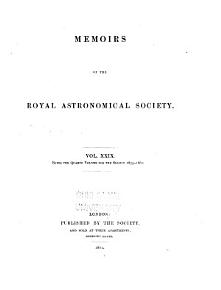 Memoirs of the Royal Astronomical Society PDF
