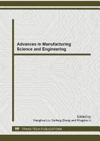 Advances in Manufacturing Science and Engineering PDF